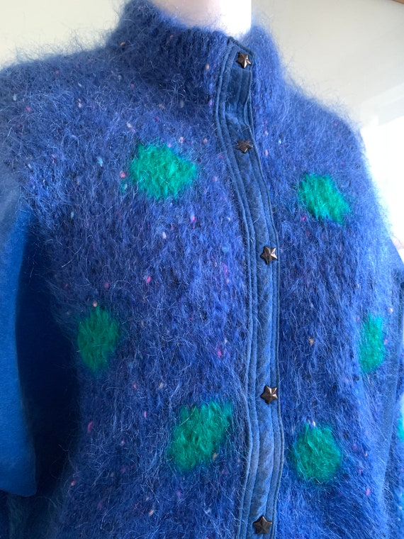 Vintage 80s mohair cardigan with blue suede panel… - image 6