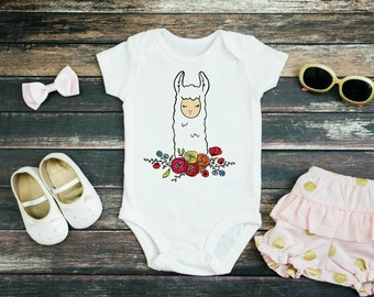 a69704846 Floral Llama Baby Bodysuit or Youth T Shirt