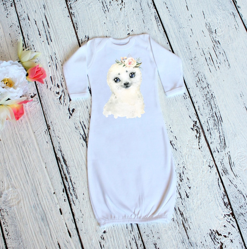 Arctic Seal Baby Long Sleeve Gown