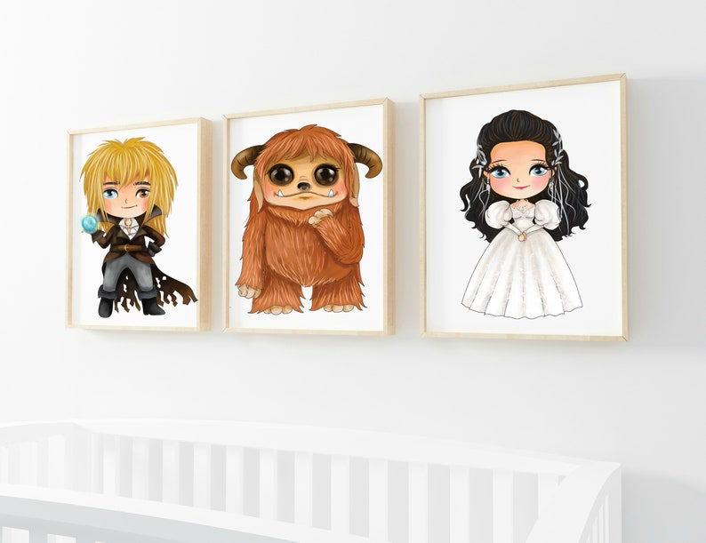 Set of 3 Labyrinth Inspired Professional Printed on Gloss card stock Prints