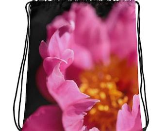 Pink Petals Drawstring Bag