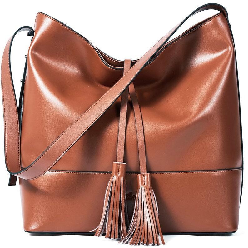 9ec91b7ee071 BOSTANTEN Women Leather Shoulder Bucket Handbag Tote Top-handle Purse
