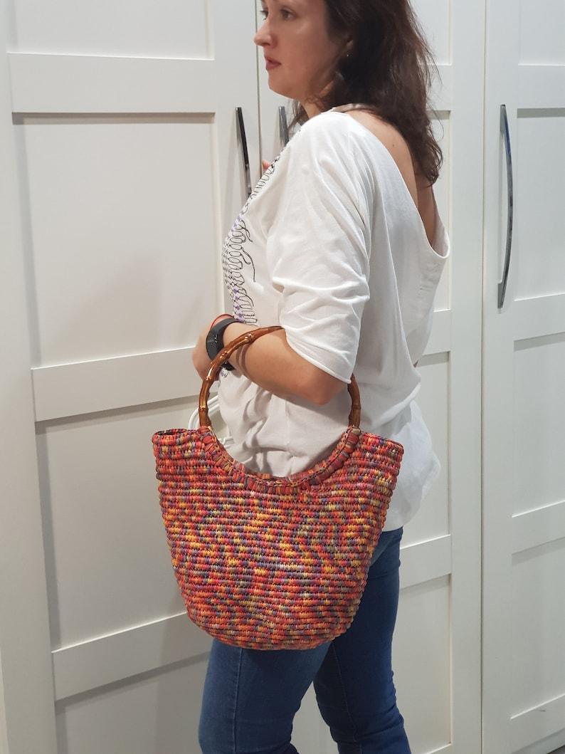 grocery market Multicolour red shopping  eco handbag baby overnight Crochet raffia straw summer bag pool Bag for beach