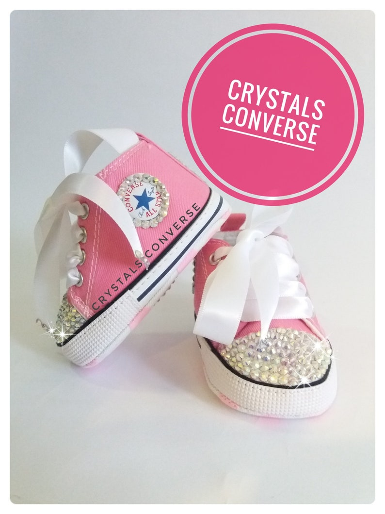 e107d41c3f8a0 Converse Baby Swarovski, Crystal Blingbling shoes, girls Rhinestone  Diamonds, Pink Sneakers baby Jewelry, 0-12 Months Soft sole