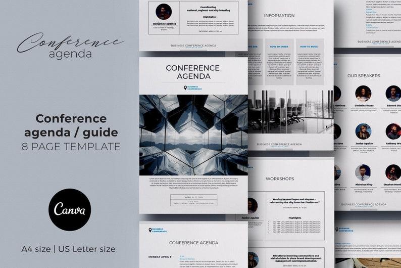 Conference agenda canva template, Business brochure template, Event program  template, eBook template, Design template, Editable template