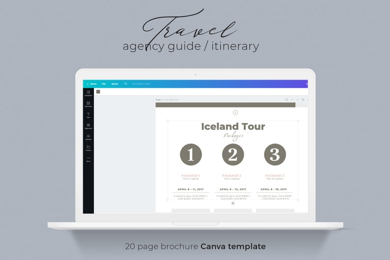 Canva Brochure Template Travel Agency Guide Itinerary