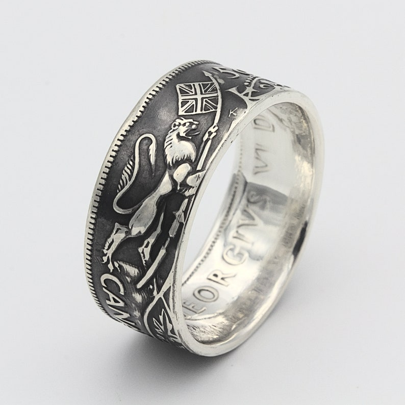 Coin Ring UK Lion Ring Mens Coin Ring Unicorn Ring Canadian Half Dollar Horse Ring Silver Canadian 50 Cents Canadian Coin Ring