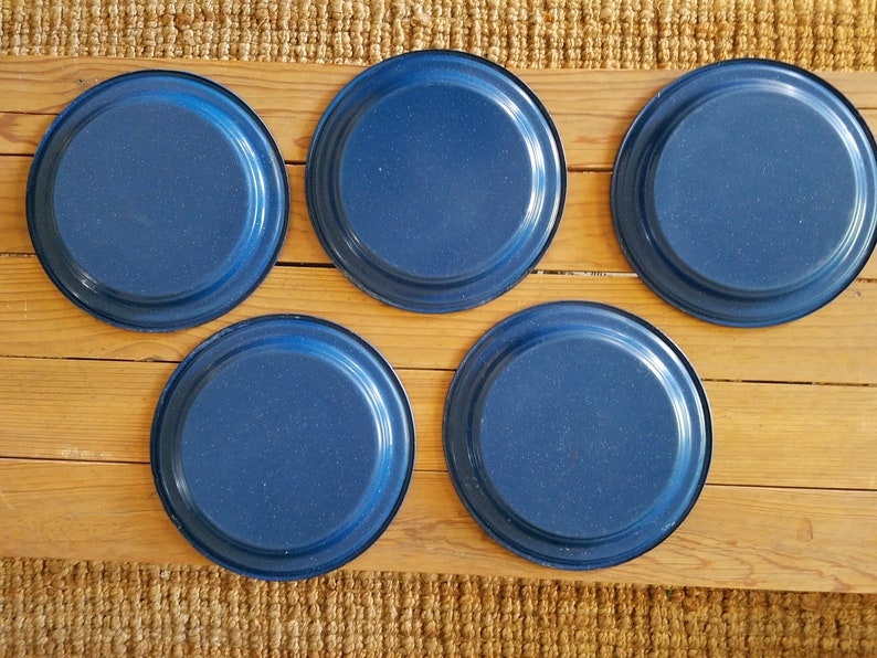 Blue  Enamelware 5 plates
