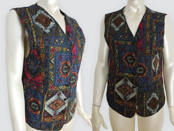 Vintage Quilted Vest Top 90s Womens Vest Patterned