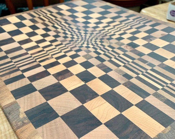 Popular New 3-D Butcher Block Cutting board, end grain hardwood for long life. Pre finished ready to use. Great gift. A D&G original    #22