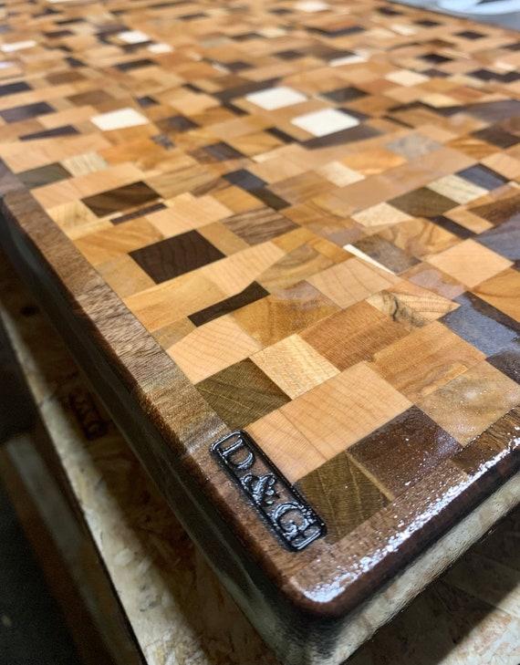 CHAOS 5*  Butcher Block Cutting board, End Grain Hardwood long life Pre finished  A D&G Wood WorX Original #00SO