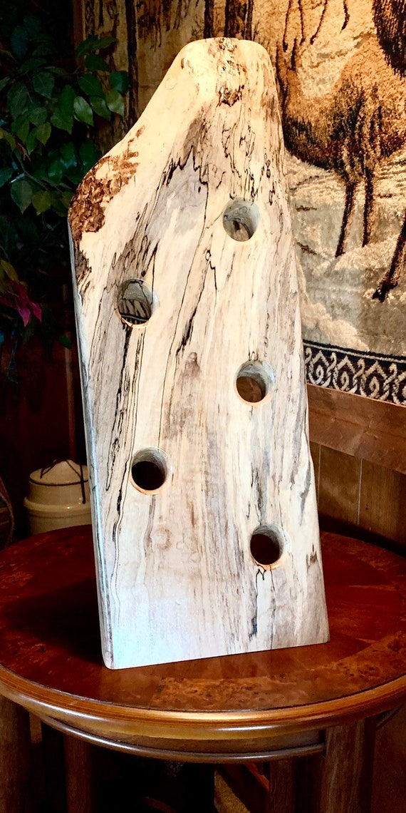 Spalted Silver Maple 5 Bottle Wine Rack with a hand rubbed medium sheen finish that will last a lifetime. Great Holiday Gift!