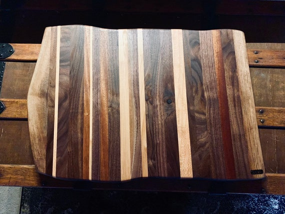 XL Live Edge Cutting Board. Face grain hardwoods for long life of the board and your knife. Made in Pa. Great gift for the Chef in your fami