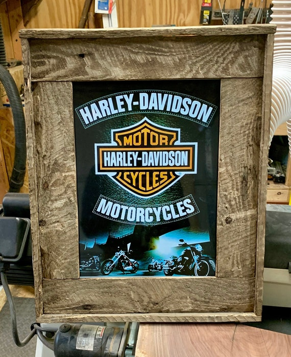 SALE__Harley Davidson Tin, Framed in Reclaimed Rustic Pallet Wood.