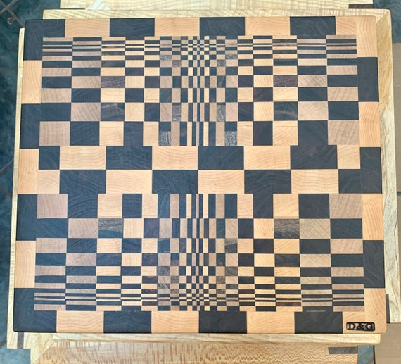 Popular 3-D Butcher Block Cutting board, end grain hardwood for long life. Pre finished ready to use. Great gift. A D&G original    #18