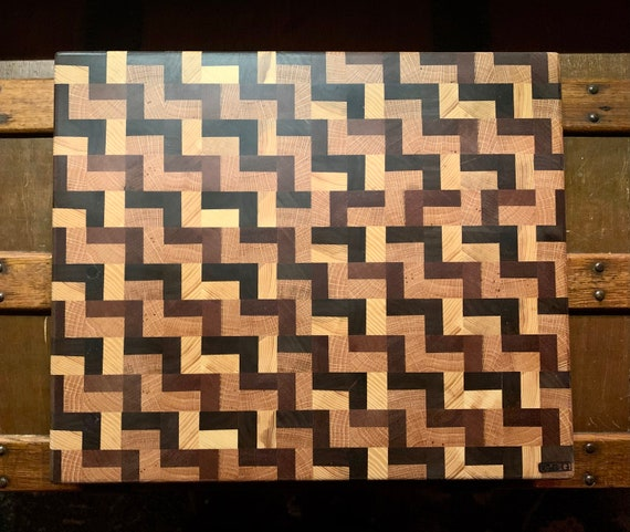 """Butcher Block Zig-Zag Pattern """"SFP"""" Board. End Grain Hardwood will protect your knives and give long Board life. Another D&G original.    #5"""