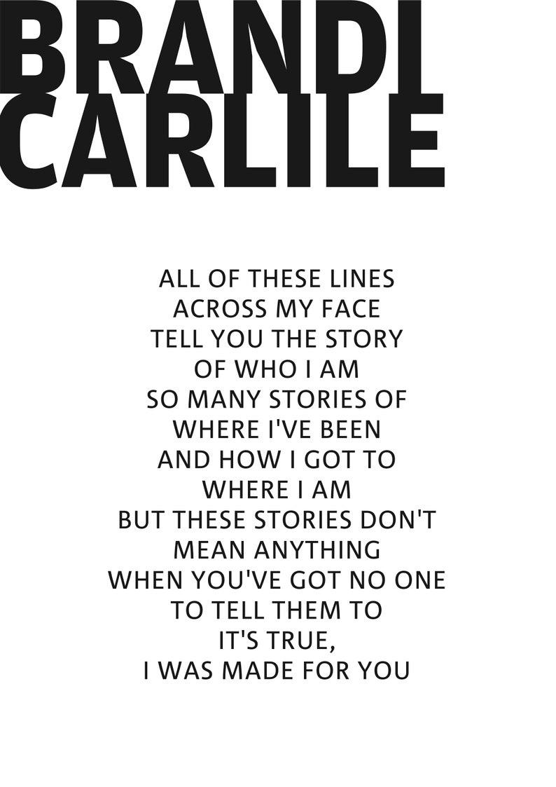 Brandi Carlile Poster, The Story - Song Lyric Art Poster, Brandi Carlile  Musical Art Work, Gift For Vocalist, Gift for Musician