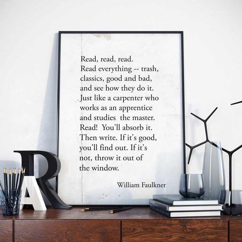 William Faulkner Quote Poster American Writer and Nobel Prize image 0