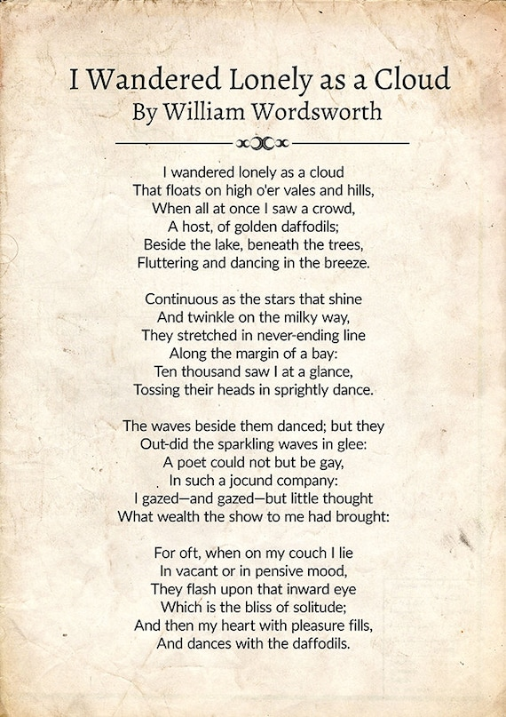 William Wordsworth Poem I Wandered Lonely As A Cloud Wordsworth Poetry Vintage Art Wordsworth Poetry Art Poetry Gift For Readers