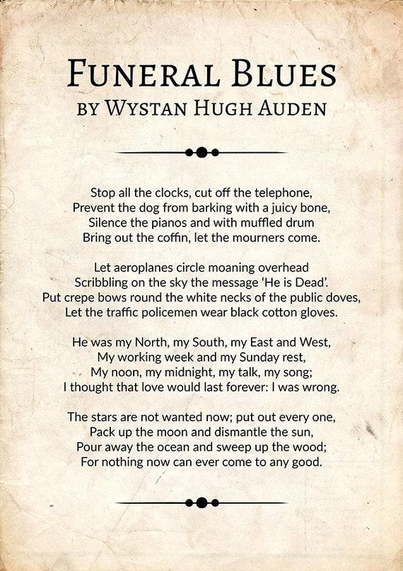 Funeral Blues By Wystan Hugh Auden Funeral Blues Poem Poster Wystan Hugh Auden Poetry Wall Art Wystan Hugh Auden Poetry Gift Poem