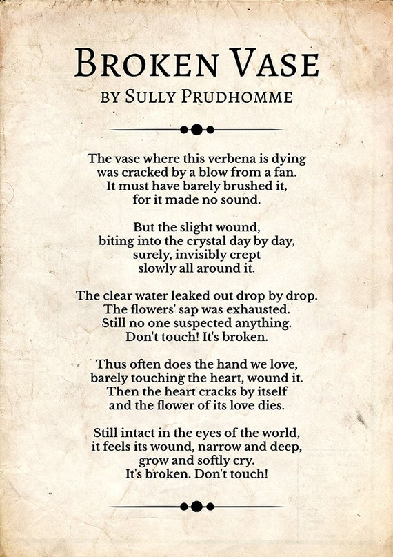 Brohen Vase By Edge By Sully Prudhomme Sally Prudhomme Wall Art Sully Prudhomme Artwork Poem Poster Poem Gift Noblist