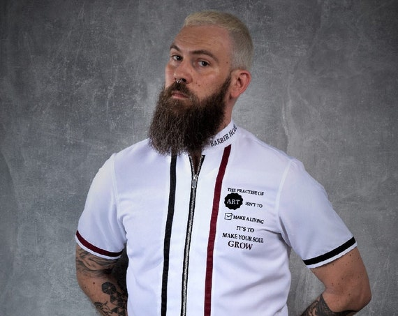 Premium Barber Smock from Kirios Barber Luxury , White With Black and Dark Red Stripes, Jersey, Work-wear, Barber Jacket