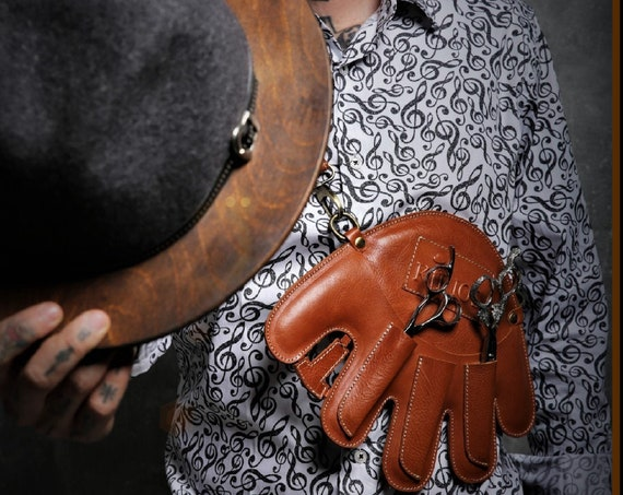 Premium Barber Holster styled as a baseball glove, from Deluxe Calfskin Quality,  Taba and Red, from KIRIOS Barber Luxury