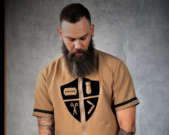 Premium Barber Smock from Kirios Barber Luxury,A Pale Shade Of Brown , Barber Clothing,Barber Fashion