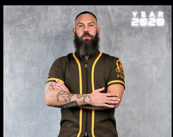 Premium Barber Smock from KIRIOS,Dark Green With Yellow Stripes,''THE INDIAN'',Barber Jersey, Work-wear, Barber Jacket