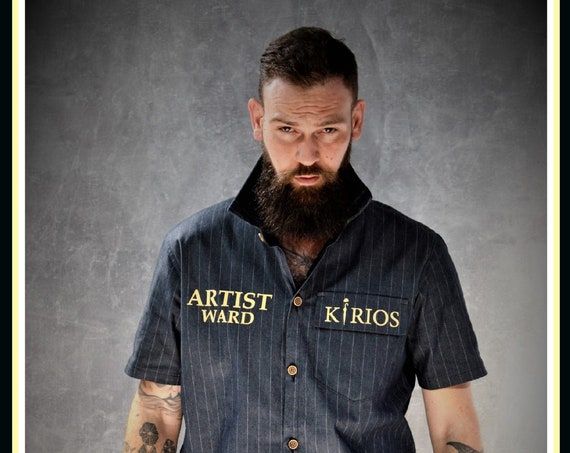 Premium Barber Smock, Blue With White Stripes, Jersey, Work-wear, Barber Jacket from KIRIOS Barber Luxury.