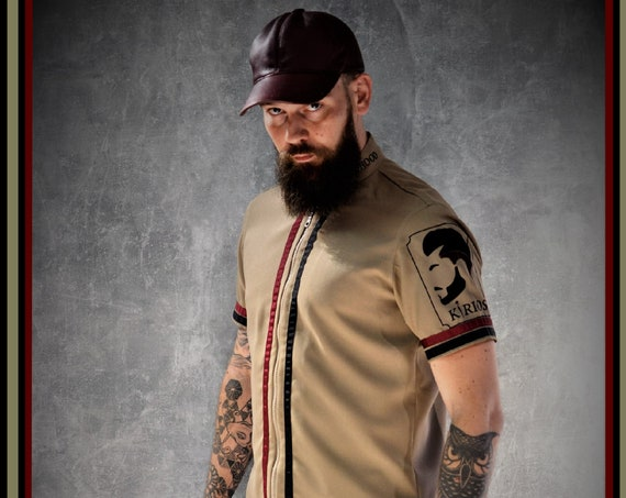 Premium Barber Smock from Kirios Barber Luxury, Dark Beige, Jersey, Work-wear, Barber Jacket