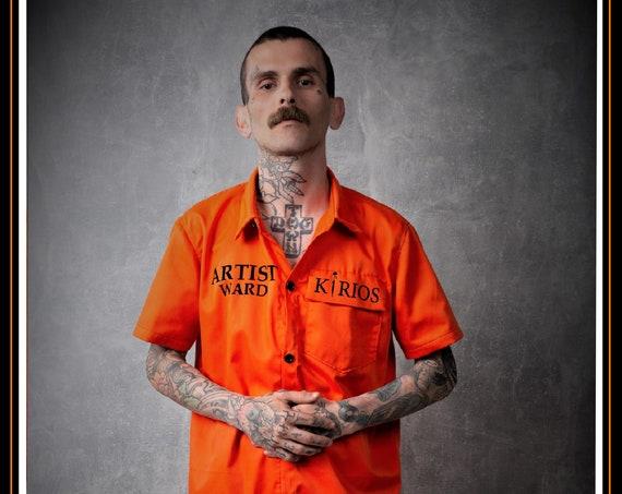 Premium Barber Smock  Artist Ward, Orange, Jersey, Work-wear, Barber Jacket from KIRIOS