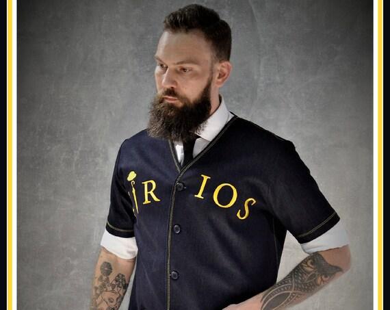 Premium Barber Luxury Jacket, Denim, Smock, blue, Jersey, Work-wear, Barber Jacket, with Lambskin leather pockets, from KIRIOS Barber Luxury