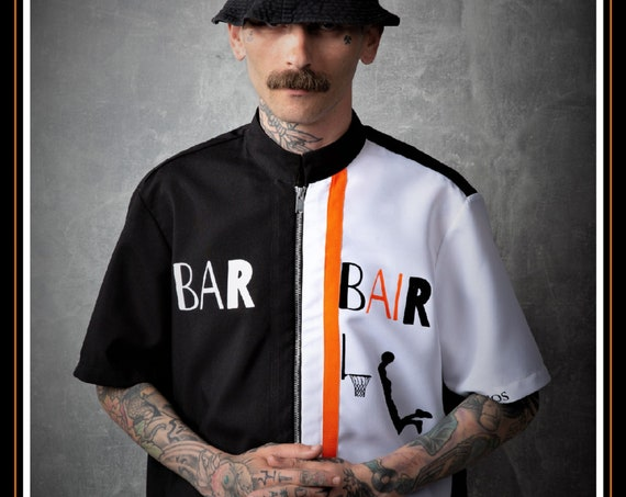 Premium Barber Smock from Kirios Barber Luxury, Black & White With Orange Stripe, Jersey, Work-wear, Barber Jacket