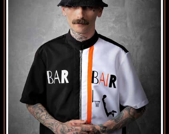 Premium Barber Smock from Kirios Barber Luxury, Black & White With Orange Stripe, Jersey, Work-wear, Barber Jacket