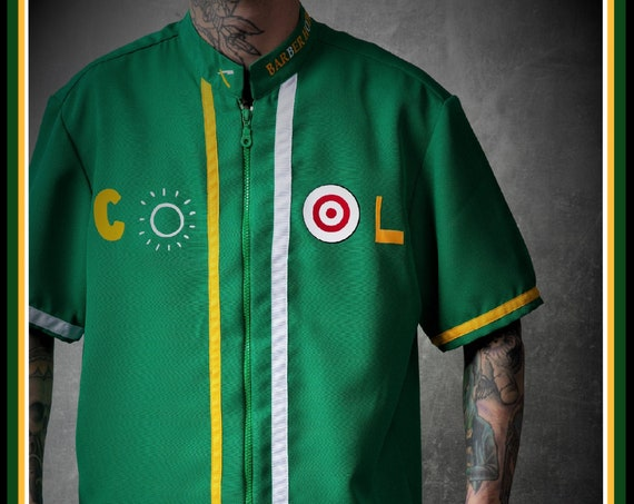 Premium Barber Smock from KIRIOS Barber Luxury, Green with Yellow and White Stripes, Jersey, Work-wear, Barber Jacket