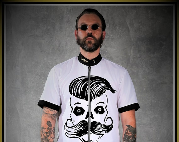 Premium Barber Smock from KIRIOS, White & Black,'' Mr Fight '',Limited Edition.Barber Fashion.