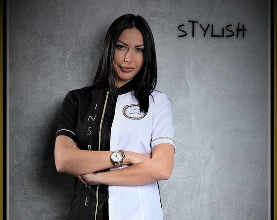 Premium Barber/Hair Stylist Grooming Smocks for Women,''MISS BARBER'',Barber Fashion
