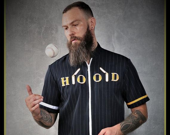 Premium Barber Smock from Kirios Barber Luxury, Dark Blue With White Stripes,''HOOD'', Barber Clothing, Barber Fashion,Baseball Style