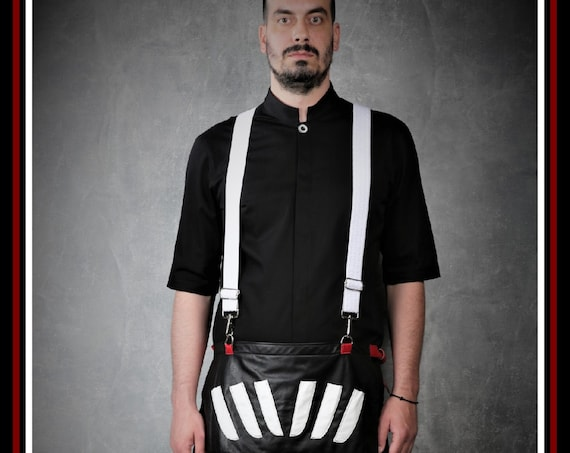 Premium Barber Funky Apron by Kirios Barber Luxury.Quality Calfskin Leather, Lambskin Cases And Adjustable Elastic Funky Braces.