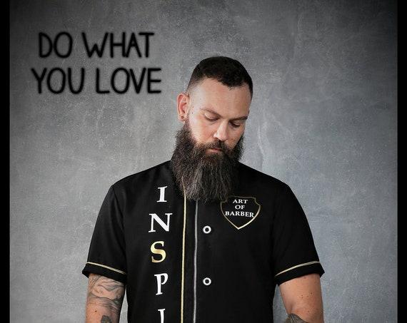 Premium Barber Smock from Kirios Barber Luxury, Black & Gold, Barber Clothing,Barber Fashion