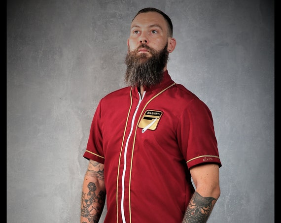 Premium Barber Smock from Kirios Barber Luxury, Burgundy & Gold, Barber Clothing,Barber Fashion
