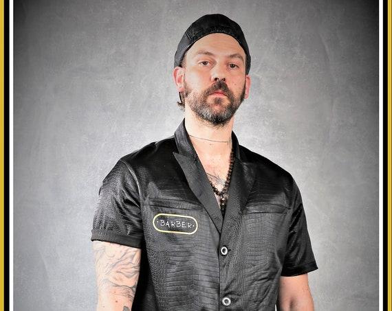 Artistic Barber/Hair Stylist Grooming Jacket ,In Embossed Croc In Black,From Kirios Barber Luxury.