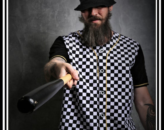 Premium  Barber Jersey from Kirios Barber Luxury, Checkered Black & White With Gold Stripes, Work-wear, Barber Jacket,Baseball Style