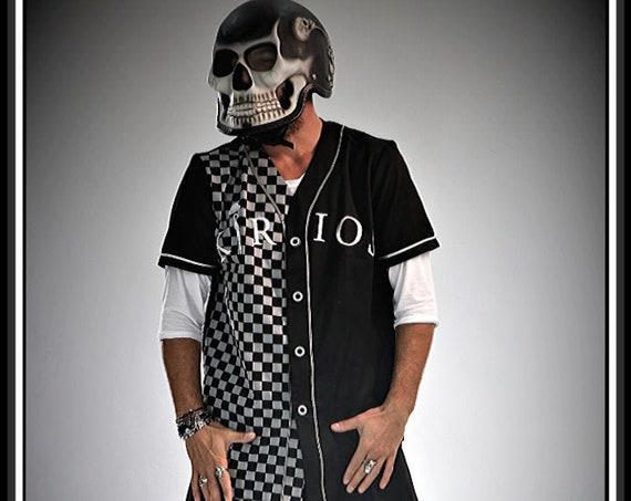 Premium Barber Jersey from Kirios Barber Luxury, Checkered Black & Dark Grey, Work-wear, Barber Jacket,Baseball Style