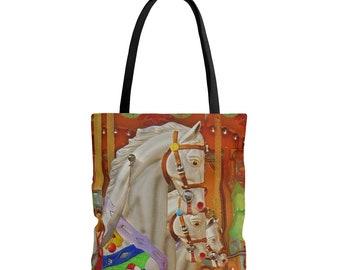 Travel Bag Unique Tote Bag Horses Market Bag Shopping Bag Book Bag Beach Bag Art Tote Bag Reusable Tote Carousel Tote Bag Gift
