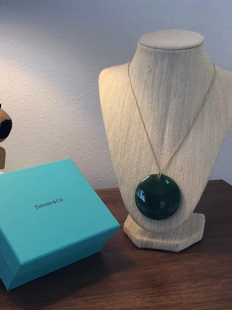 e8cabaa2cf Tiffany & Co. Elsa Peretti Round Green Jade Pendant | Etsy