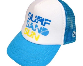 a47184d99ed07 Surf Sand Sun baby and toddler trucker hat. Beach Bum kids hat. Snapback hat