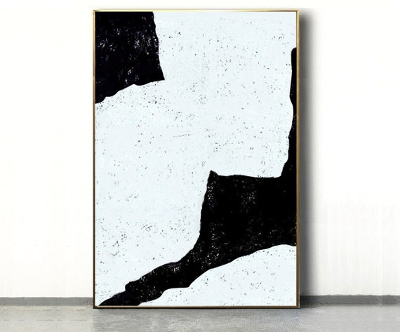 Black White Abstract Painting Minimalist Painting Art Original Etsy
