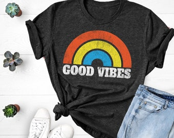 e729389d Good Vibes Shirt, Summer Shirt, Rainbow Tee, Vintage Distressed Good Vibes  Shirt, Women's T-Shirt, Men's T-Shirt, Unisex Sizing